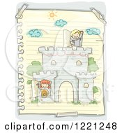 Doodle Of Children Playing In A Castle Drawn On Ruled Paper