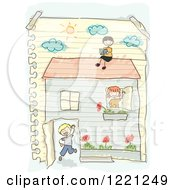 Clipart Of A Doodle Of Children Playing In A House Drawn On Ruled Paper Royalty Free Vector Illustration