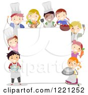 Clipart Of Diverse Culinary Chef Children Around A Sign Board Royalty Free Vector Illustration