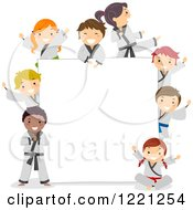 Clipart Of Diverse Karate Children Around A Sign Board Royalty Free Vector Illustration
