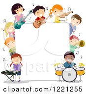 Clipart Of Diverse Musician Children Around A Sign Board Royalty Free Vector Illustration