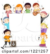 Clipart Of Diverse Chorus Children Singing Around A Sign Board Royalty Free Vector Illustration