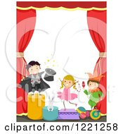 Clipart Of Circus Kids On Stage Royalty Free Vector Illustration