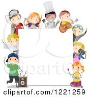 Clipart Of Diverse Extra Curricular Class Children Around A Sign Board Royalty Free Vector Illustration