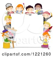 Clipart Of Diverse Artistic Children Around A Sign Board Royalty Free Vector Illustration