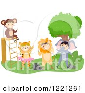Clipart Of Kids Dressed As Jungle Animals In A Play Royalty Free Vector Illustration by BNP Design Studio
