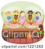 Clipart Of Diverse Children Performing A Play As Bees And Flowers Royalty Free Vector Illustration