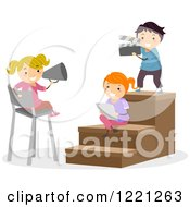 Clipart Of Children Playing In A Theater Royalty Free Vector Illustration