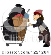 Clipart Of A Homeless Man Pushing A Cart With Items In It Royalty Free Vector Illustration by BNP Design Studio