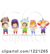 Clipart Of Diverse Children In Frozen Treat Costumes Royalty Free Vector Illustration