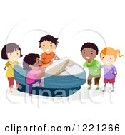 Clipart Of Diverse Children Playing On An Arcade Boat Ride Royalty Free Vector Illustration