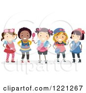 Clipart Of Diverse Girls Dressed Up In Feminine Accessories Royalty Free Vector Illustration