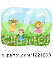 Clipart Of Happy Girls Playing With Flowers In A Meadow Royalty Free Vector Illustration