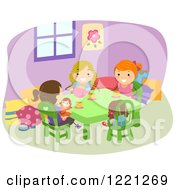 Clipart Of Girls Playing Tea Party Royalty Free Vector Illustration by BNP Design Studio