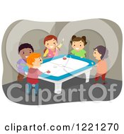 Clipart Of Diverse Kids Playing Air Hockey Royalty Free Vector Illustration