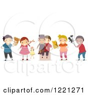 Clipart Of Diverse Children With Puppets Royalty Free Vector Illustration