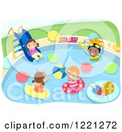 Clipart Of Diverse Kids At A Pool Party Royalty Free Vector Illustration