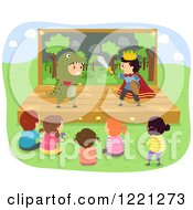 Clipart Of Diverse Children Watching A Prince And Dinosaur Play Royalty Free Vector Illustration