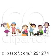 Clipart Of Diverse Children With Pets Royalty Free Vector Illustration