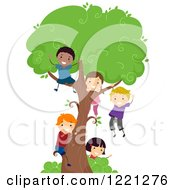 Clipart Of Diverse Children Playing On A Tree Royalty Free Vector Illustration
