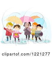 Clipart Of Diverse Children Playing With Umbrellas In The Rain Royalty Free Vector Illustration