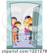 Clipart Of Diverse Children Greeting At An Open Door Royalty Free Vector Illustration