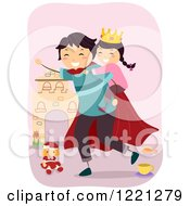 Clipart Of A Super Dad Giving His Princess Daughter A Piggy Back Ride Royalty Free Vector Illustration