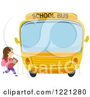 Clipart Of A School Girl Running To A Bus Royalty Free Vector Illustration by BNP Design Studio
