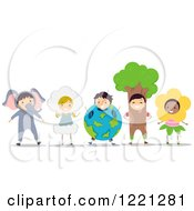 Clipart Of Diverse Children In Animal And Nature Costumes Royalty Free Vector Illustration