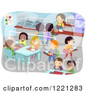 Clipart Of A School Cafeteria Full Of Children Royalty Free Vector Illustration by BNP Design Studio