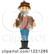 Clipart Of A Male Hunter Standing With His Rifle Over His Shoulder Royalty Free Vector Illustration