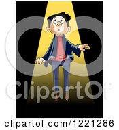 Clipart Of A Man Being Sucked Up By An Alien Beam Royalty Free Vector Illustration