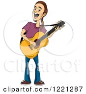 Clipart Of A Man Playing A Guitar And Singing Royalty Free Vector Illustration by BNP Design Studio