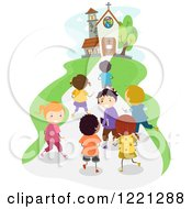 Clipart Of Diverse School Children Approaching A Church Royalty Free Vector Illustration