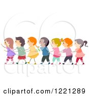 Clipart Of Diverse Children In A Conga Line Royalty Free Vector Illustration