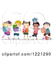 Clipart Of Happy Diverse Children Carrying Presents Royalty Free Vector Illustration