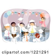 Clipart Of Diverse Little Graduate Kids At A Party Royalty Free Vector Illustration