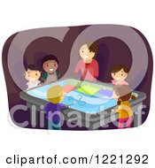 Clipart Of A Woman And Diverse Children Using An Interactive Surface Table Royalty Free Vector Illustration