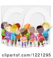 Clipart Of Diverse Excited Children By A Bulletin Board Royalty Free Vector Illustration by BNP Design Studio