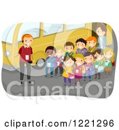 Clipart Of A Tour Guide And Children By A Bus On A Field Trip Royalty Free Vector Illustration by BNP Design Studio