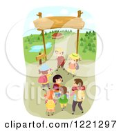 Clipart Of Happy Children Heading Into A Camp Ground Royalty Free Vector Illustration