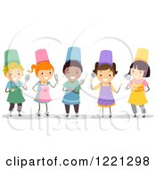 Clipart Of Diverse Stick Children In Chef Aprons And Hats Royalty Free Vector Illustration