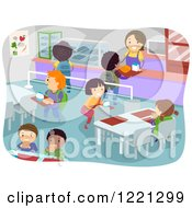 Clipart Of A School Cafeteria Full Of Hungry Children Royalty Free Vector Illustration by BNP Design Studio