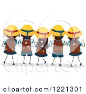 Clipart Of A Rear View Of Japanese School Boys And Girls In Uniforms Royalty Free Vector Illustration