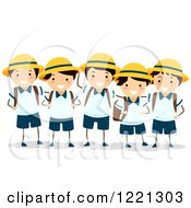 Clipart Of A Group Of Happy Japanese School Boys In Uniforms Royalty Free Vector Illustration