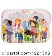 Clipart Of A Happy Family At A Party Royalty Free Vector Illustration
