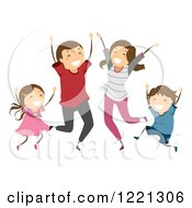 Clipart Of A Happy Family Jumping And Celebrating Royalty Free Vector Illustration
