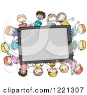 Clipart Of Doodle Children Around A Tablet Computer Royalty Free Vector Illustration
