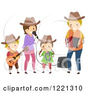 Clipart Of A Happy Family Singing And Playing Country Music Royalty Free Vector Illustration