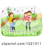 Clipart Of A Happy Family Watching Butterflies In Their Garden Royalty Free Vector Illustration